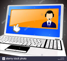 Laptop Help Desk Helpdesk Voip Laptop With Blank Space 3d Illustration Stock Photo