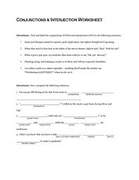 conjunctions and interjection worksheet 5th 10th grade worksheet