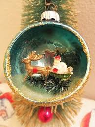 vintage rare mercury indent diorama santa bottle brush tree