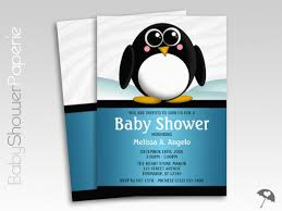 penguin baby shower penguin blue boy baby shower invitations