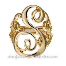 s rings two tone 18k gold diamond cut large letter s initial mens ring buy