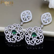 bridal drop earrings aliexpress buy pera women wedding cubic zirconia