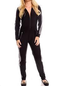 zipper jumpsuit black white vertical stripe accent front zipper jumpsuit
