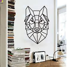 stickers animaux chambre b bande dessinée géométrique loup mur autocollant bébé pépinière