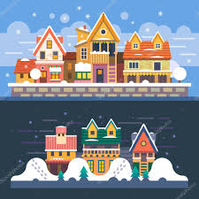 Winter Houses by Winter Houses Day And Night Snowfall U2014 Stock Vector