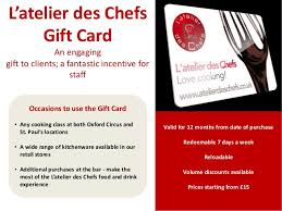 corporate gift card l atelier des chefs corporate gift card scheme