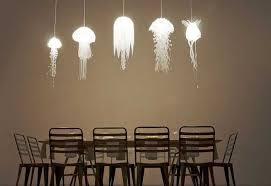 themed chandelier home lighting and poufs inspired by sea creatures expanding