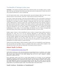Resume Template For Teenager The Benefits Of Teenage Curfew Laws Juvenile Delinquency Crimes