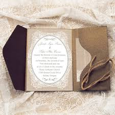 affordable pocket wedding invitations affordable rustic burlap pocket wedding invitations with twines