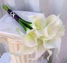 calla bouquet calla wedding bouquet white plum purple real touch bridal
