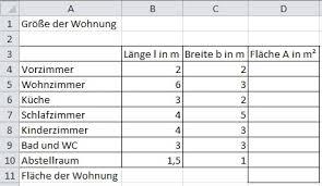 berechnung der wohnfläche course tabellenkalkulation 2