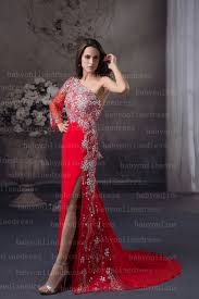 floor length long sleeve red evening dresses with shoulder