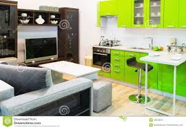 green kitchen and room clean interior design stock photo image