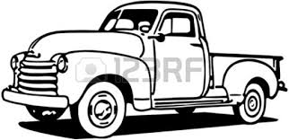 pickup truck black and white clipart 2096063