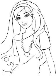 barbie coloring pages wearing heart necklace coloringstar
