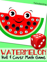 watermelon math game roll u0026 cover totschooling toddler