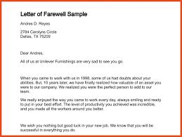 farewell letter to colleagues sop format example