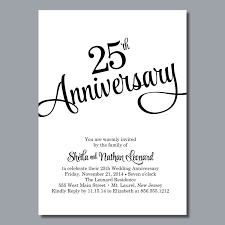 free printable 25th wedding anniversary invitations card with
