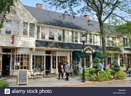 downtown falmouth village cape cod in summer with shops and