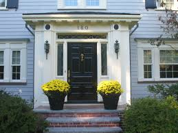 Home Decor Outside Exterior Sweet Single 7 Panels Black Front Doors With Small Porch