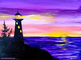 easy sunrise painting of a silhouette lighthouse with light on this is a fully guided real time step by step acrylic art lesson for beginners