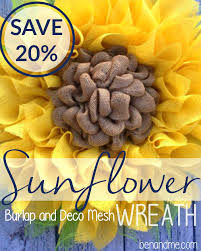 sunflower mesh wreath burlap and deco mesh sunflower wreath
