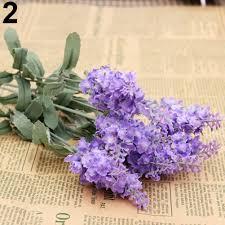 Flower Home Decor by 10 Pcs Bouquet Faux Silk Lavender Fake Garden Plant Flower Home
