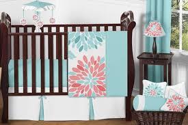 Jojo Crib Bedding Set Furniture Turquoise And Coral Baby Bedding 11pc Crib Set By