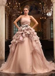 luxury wedding dresses luxury ruffled chagne organza strapless gown wedding dress