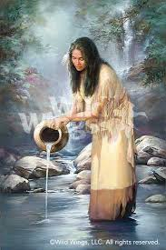 indian maiden with waterfall original oil painting wild wings