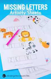 themed letters animals missing letters activity sheets the kindergarten connection