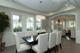 ideas cozy glass dining table with tablecloth and white parson