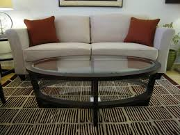 oval glass and wood coffee table oval glass coffee table