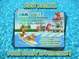 Invitation Card For Pool Party Paw Patrol Pool Party Invitation Paw Patrol Party Invite