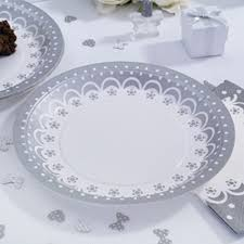 silver wedding plates chic boutique white silver wedding plates