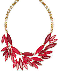red gold necklace images Bar iii gold tone red oval stone frontal necklace where to buy jpg