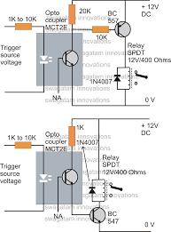 how to drive a relay through an opto coupler circuit