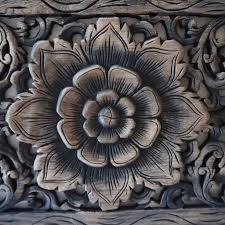 thai lotus wood carving wall panel siam sawadee
