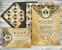 Gothic Halloween Wedding Party Invitation by Diy Halloween Wedding Invitation U0026 Rsvp Kit Rustic Black