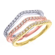 color wedding rings images 14k tri color gold chevron diamond stackable 3 piece wedding ring set jpg