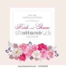wedding invitation cards rosesbeautiful white red stock vector