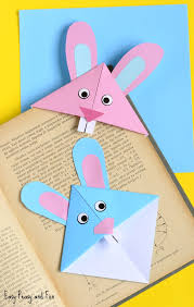 easter easter bunny easter bunny corner bookmark diy origami for kids easy peasy and