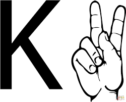 asl sign language letter k coloring page free printable coloring