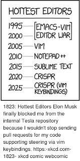 Meme Comic Editor - hottest editors 1995 emacs vim 2000 editor war 2005 vim 2010 notepad