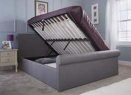 side lift ottoman storage sleigh bed carol silver fabric side lift ottoman double sleigh bed frame