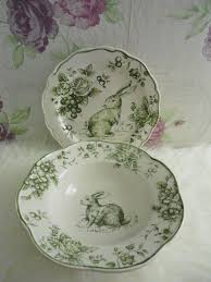 rabbit dish set maxcera toile color me with emerald green bunny