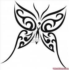 black ink tribal butterfly design
