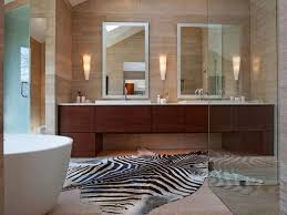 Modern Bathroom Rugs Zebra Cowhide Large Bath Rugs With Brown Wooden Vanity For