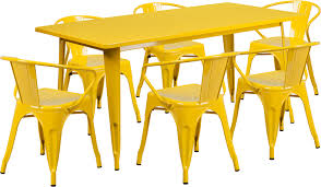 Yellow Patio Chairs Yellow Metal Rectangular Table Set Restaurant Patio Tables
