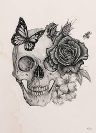 butterfly skull pencil and in color butterfly